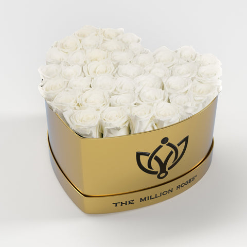 The Million Love Heart - White Eternity Roses - Shiny Gold Box - The Million Roses Europe