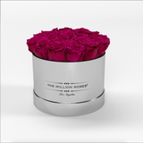 Classic - Hot Pink Eternity Roses - Mirror Silver Box - The Million Roses Europe