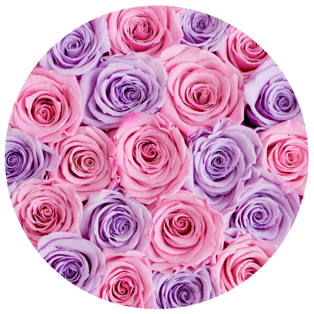 The Million Roses Europe - Small - Lavender & Candy Pink Roses - White Box Delivered Anywhere in Europe