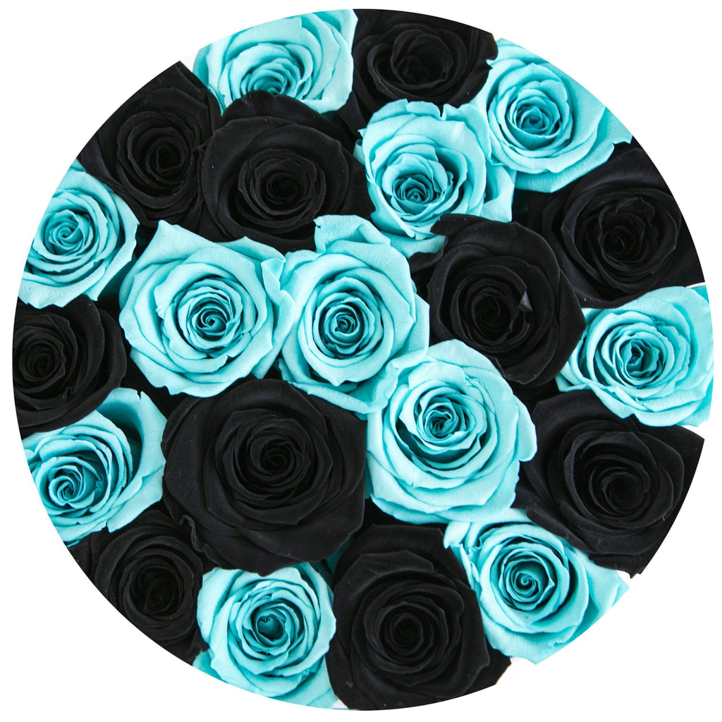 The Million Roses Europe - Small - Tiffany Blue & Black Eternity Roses - White Box Delivered Anywhere in Europe