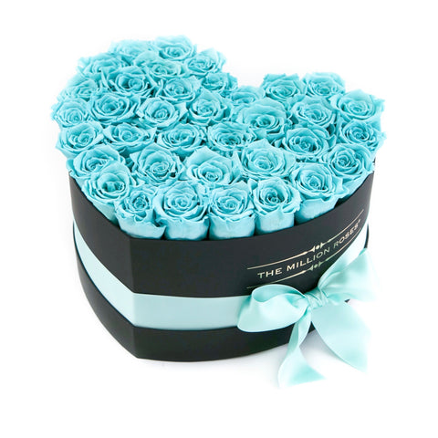 The Million Love Heart - Tiffany Blue Eternity Roses - Black Box - The Million Roses Europe