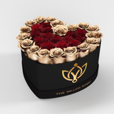 The Million Love Heart - Red/Gold 2 Eternity Roses - Black Box - The Million Roses Europe