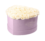 The Million Love Heart Premium - Light Pink Suede Box - White Eternity Roses (Dome) - The Million Roses Europe