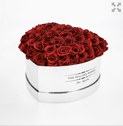 The Million Love Heart Premium - Mirror Silver Box - Red Eternity Roses - The Million Roses Europe