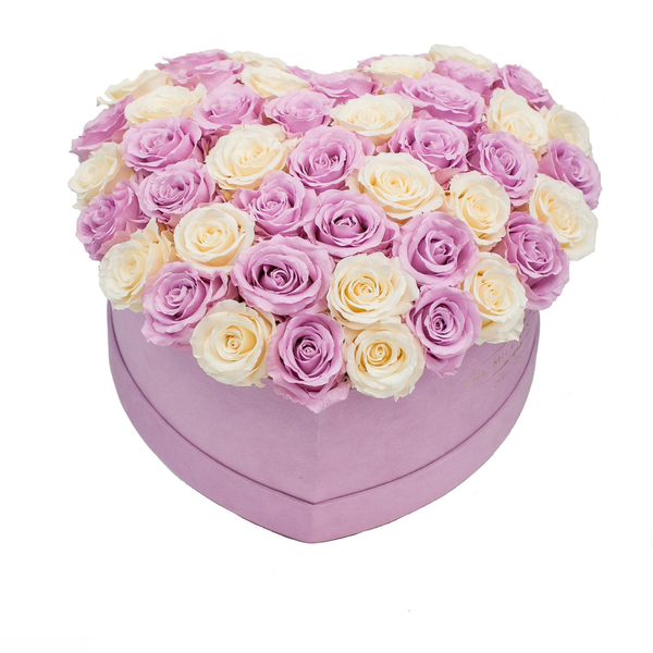 The Million Love Heart Premium - Light Pink Suede Box - White & Pink Eternity Roses (Dome) - The Million Roses Europe