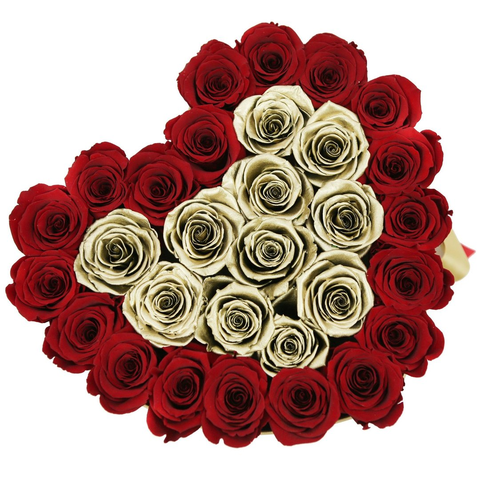 The Million Love Heart - Red & Gold Roses - Gold Box - The Million Roses Europe