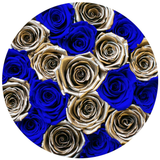 Classic - Royal Blue Suede Box - Royal Blue & Gold Eternity Roses - The Million Roses Europe
