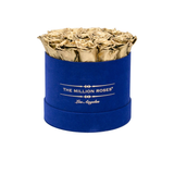 Classic - Royal Blue Suede Box - Gold Eternity Roses - The Million Roses Europe