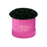 Classic - Hot Pink Suede Box - Black Eternity Roses (Dome) - The Million Roses Europe