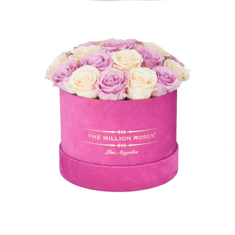 Classic - Hot Pink Suede Box - White & Pink Eternity Roses (Dome) - The Million Roses Europe