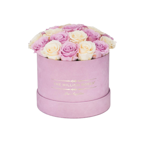 Classic - Light Pink Suede Box - White & Pink Eternity Roses (Dome) - The Million Roses Europe