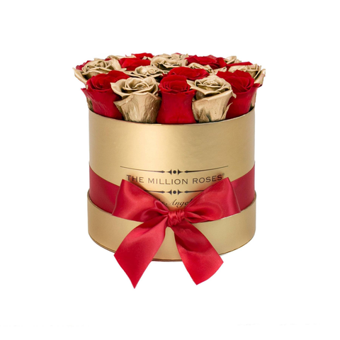Classic - Red & Gold Eternity Roses - Gold Box - The Million Roses Europe