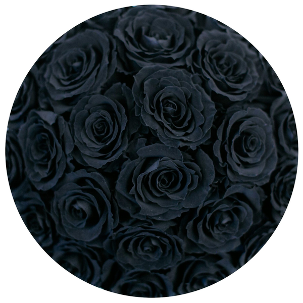 Classic - Hot Pink Suede Box - Black Eternity Roses - The Million Roses Europe