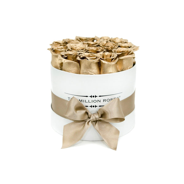 Small - Gold Eternity Roses - White Box - The Million Roses Europe - Italia, France, Österreich, Deutschland, Espana
