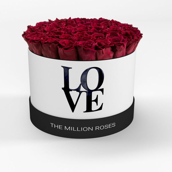 LOVE Premium White - Red Eternity Roses - The Million Roses Europe