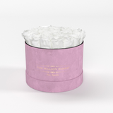 Classic - Light Pink Suede Box - White Eternity Roses - The Million Roses Europe