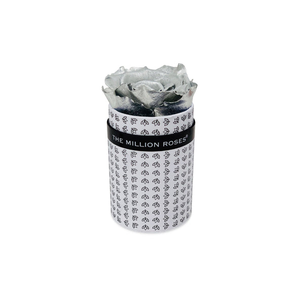 Single Rose Box - White All Over Logo - Silver Rose - The Million Roses Europe