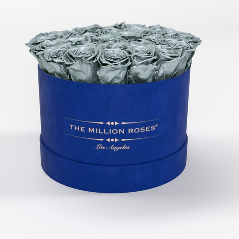 Premium - Silver Eternity Roses - Royal Blue Suede Box - The Million Roses Europe