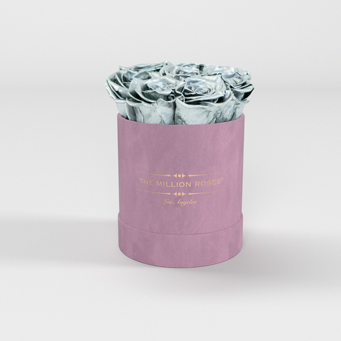 The Million Basic - Light Pink Suede Box - Silver Eternity Roses - The Million Roses Europe