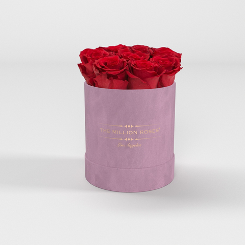 The Million Basic - Light Pink Suede Box - Red Eternity Roses - The Million Roses Europe