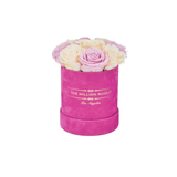 The Million Basic - Hot Pink Suede Box - Soft Pink & White Eternity Roses - The Million Roses Europe