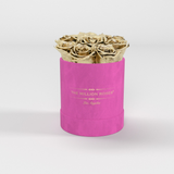 The Million Basic - Hot Pink Suede Box - Gold Eternity Roses - The Million Roses Europe