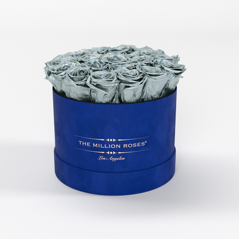 Classic - Royal Blue Suede Box - Silver Eternity Roses - The Million Roses Europe