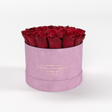 Classic - Light Pink Suede Box - Red Eternity Roses - The Million Roses Europe