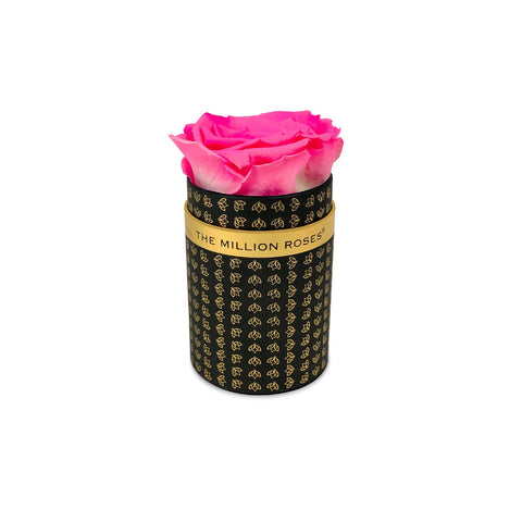 Single Rose Box - Black All Over Logo - The Million Roses Europe