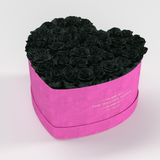 The Million Love Heart Premium - Hot Pink Suede Box - Black Eternity Roses - The Million Roses Europe