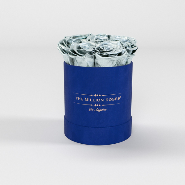 The Million Basic - Royal Blue Suede Box - Silver Eternity Roses - The Million Roses Europe