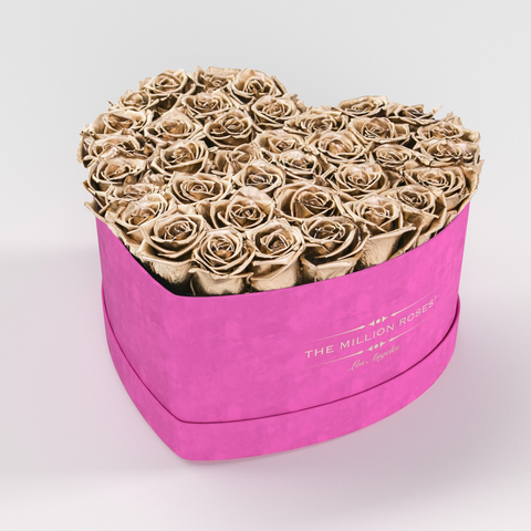 The Million Love Heart Premium - Hot Pink Suede Box - Gold Eternity Roses - The Million Roses Europe