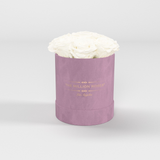 The Million Basic - Light Pink Suede Box - White Eternity Roses - The Million Roses Europe