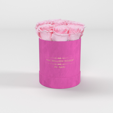 The Million Basic - Hot Pink Suede Box - Soft Pink Eternity Roses - The Million Roses Europe