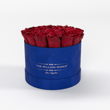 Classic - Royal Blue Suede Box - Red Eternity Roses - The Million Roses Europe