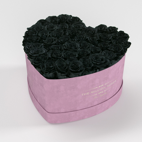 The Million Love Heart Premium - Light Pink Suede Box - Black Eternity Roses - The Million Roses Europe