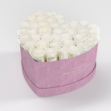 The Million Love Heart Premium - Light Pink Suede Box - White Eternity Roses - The Million Roses Europe