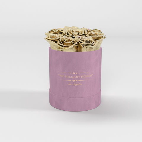 The Million Basic - Light Pink Suede Box - Gold Eternity Roses - The Million Roses Europe