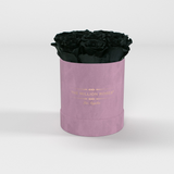 The Million Basic - Light Pink Suede Box - Black Eternity Roses - The Million Roses Europe