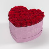 The Million Love Heart Premium - Light Pink Suede Box - Red Eternity Roses - The Million Roses Europe