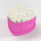 The Million Love Heart Premium - Hot Pink Suede Box - White Eternity Roses - The Million Roses Europe