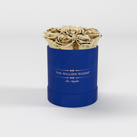 The Million Basic - Royal Blue Suede Box - Gold Eternity Roses - The Million Roses Europe