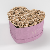 The Million Love Heart Premium - Light Pink Suede Box - Gold Eternity Roses - The Million Roses Europe