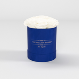 The Million Basic - Royal Blue Suede Box - White Eternity Roses - The Million Roses Europe