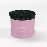 Classic - Light Pink Suede Box - Black Eternity Roses - The Million Roses Europe