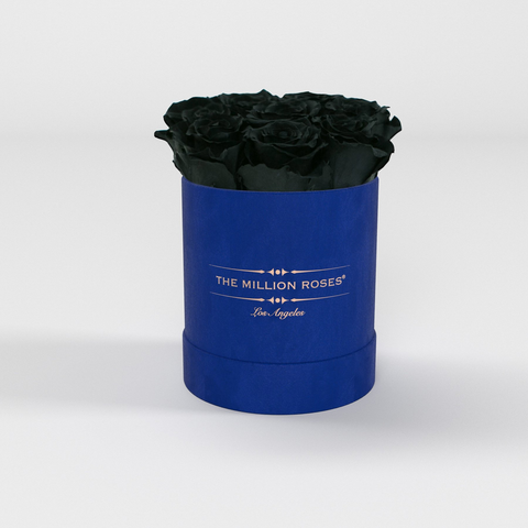 The Million Basic - Royal Blue Suede Box - Black Eternity Roses - The Million Roses Europe