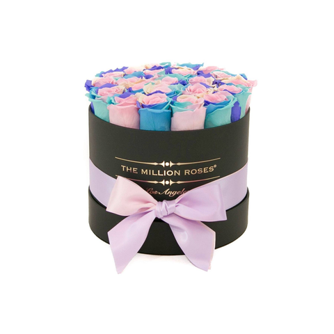 Classic - Pastel Rainbow Eternity Roses - Black Box - The Million Roses Europe