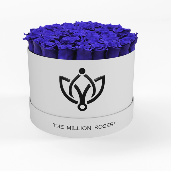 Premium - Blue Eternity Roses - White Box - The Million Roses Europe