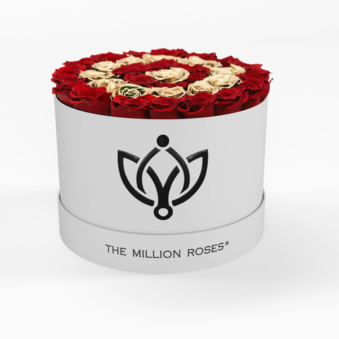 Premium - Red Eternity Roses With Gold Circles - White Box - The Million Roses Europe