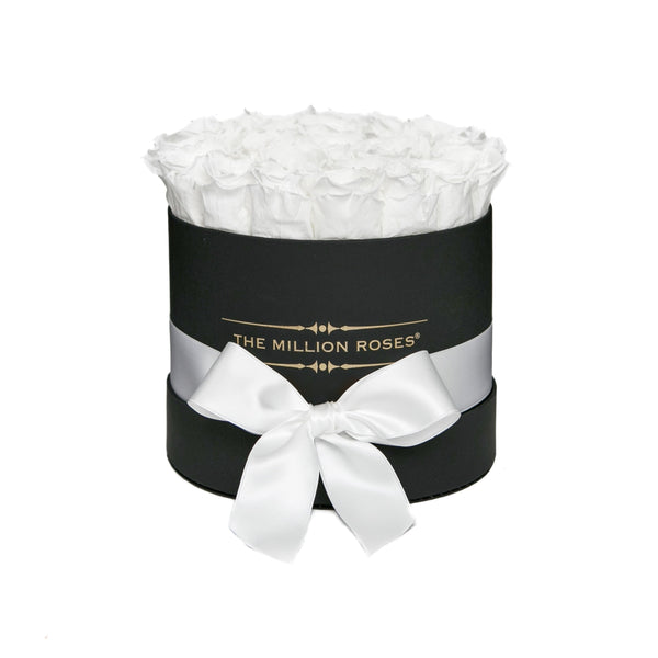 The Million Roses Europe - Small - White Eternity Roses - Black Box Delivered Anywhere in Europe